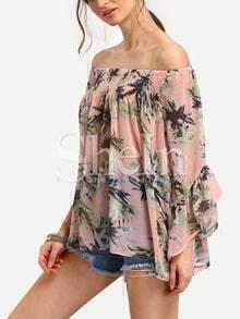 Pink Boat Neck Ruffle Sleeve Florals Chiffon Shirt