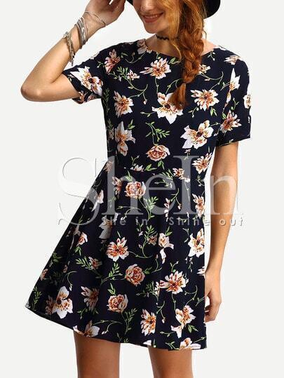 Short Sleeve Flower Print A-Line Dress