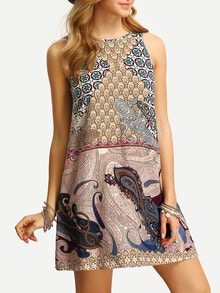 Multicolor Sleeveless Vintage Print V Back Dress
