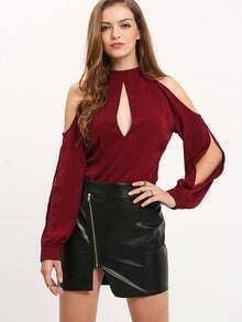 Open Shoulder Split Cut Out Blouse