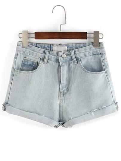 Washed Demin Pockets Back Roled-up Shorts