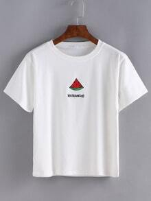 White Waterlemon Print Short Sleeve T-shirt