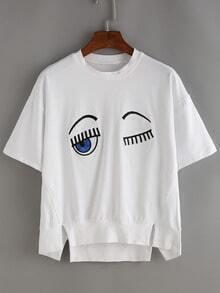 White Eyelash Print Dip Hem T-shirt