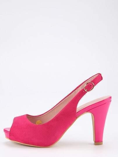 Faux Suede Peep Toe Slingback Pumps - Pink
