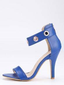 Strappy Metal Eyelet Ankle Cuff Sandals - Navy