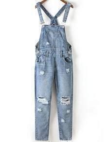 Distressed Roll-up Bib Jeans