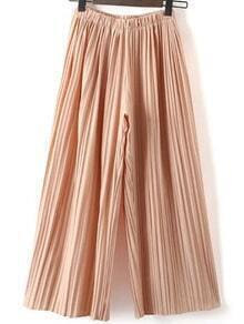 Pleated Pink Chiffon Wide Leg Pants