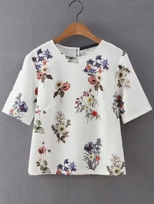 Flower Print Short Sleeve Blouse
