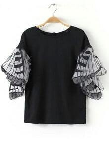 Embroidery Flutter Sleeve Blouse