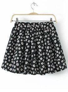 Flower Print Pleated Chiffon Skirt