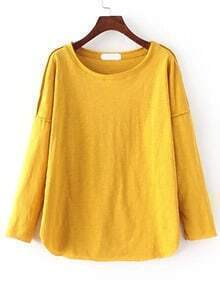 Drop Sleeve Curved Hem Yellow T-shirt