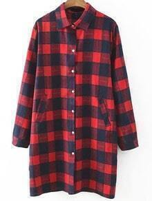 Red Plaid Dual Pockets Shirt Dress