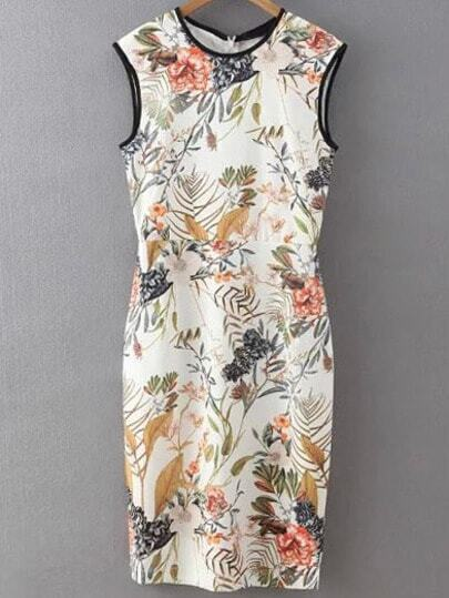 Flower Print Binding Sheath Dress