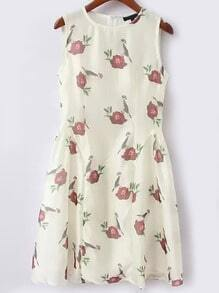 Crew Neck Floral Slim Dress