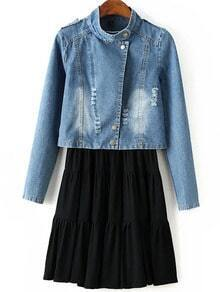 Modal Pleated Dress With Bleached Crop Denim Coat