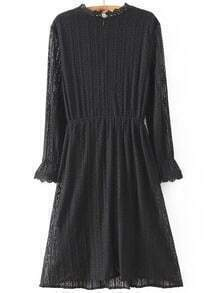 Puff Sleeve Lace Pleated Black Dress