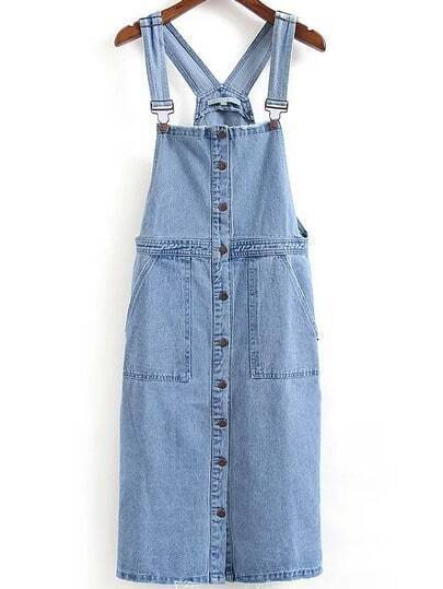 Straps Denim Button-Down Light Blue Suspender Dress
