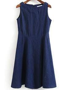 Denim A-Line Tank Dress With Zipper