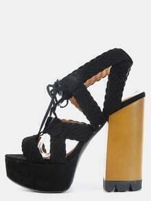 Open Toe Woven Chunky Heels BLACK