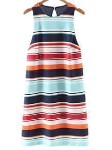 Multicolor Sleeveless Zipper Cut Out Backless Stripe Dress