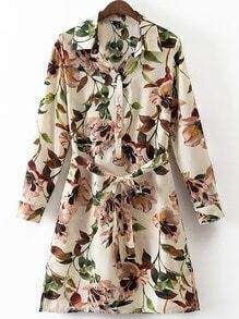 Multicolor Split Side Tie-Waist Flowers Print Shirt Dress
