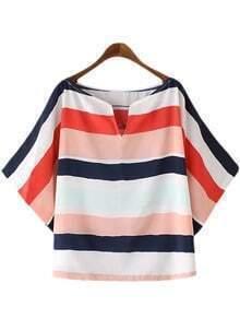 Multicolor Stripe Scoop Neck Short Sleeve Blouse