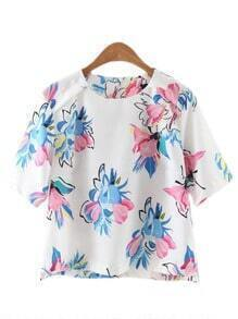 Multicolor Short Sleeve Zipper Back Flowers Print Blouse