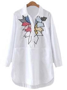 White Long Sleeve Pockets Geometric Embroidery Blouse