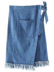 Blue Pocket Tie-Waist Bow Denim Fringed Skirt