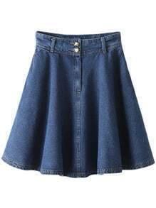 Blue Buttons Zipper Front Pockets Denim Swing Skirt