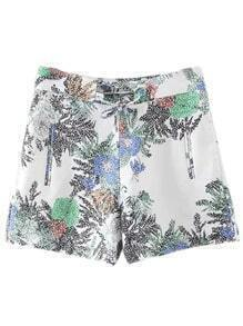 Multicolor Pockets Lace Up Front Print Shorts