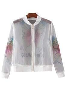 Multicolor Zipper Front See-through Butterfly Print Jacket