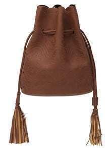 Embroidery Tassel Drawstring Bucket Bag - Brown