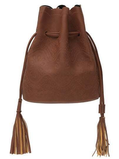 Embroidery Tassel Drawstring Bucket Bag - Brown