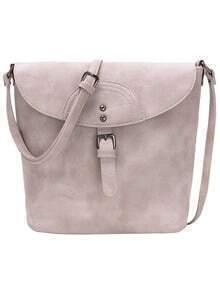 Distressed Buckle Flap Bucket Bag - Grey