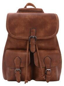 Distressed Buckle Flap Backpack - Brown