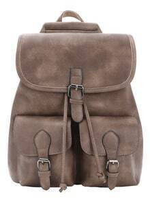 Distressed Buckle Flap Backpack - Grey