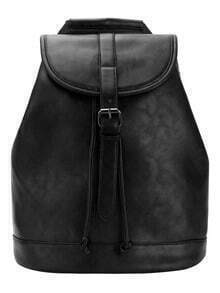 Buckle Flap Structured Backpack - Black