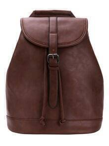 Buckle Flap Structured Backpack - Brown
