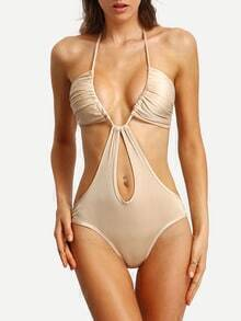 Plunge Halter Neck Cutout One-Piece Swimwear