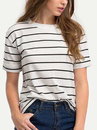 Dip Hem Striped Split T-shirt