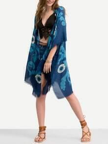 Blue Flower Print Fringe Kimono