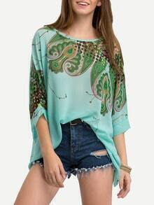 Green Paisley Print Chiffon Shirt