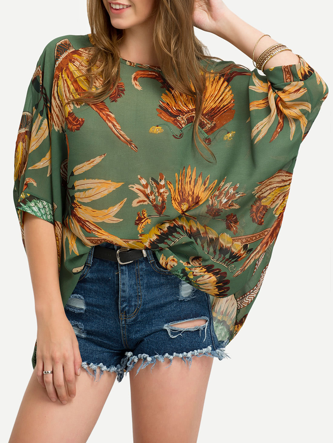 Leaves Print Chiffon ShirtLeaves Print Chiffon Shirt<br><br>color: Green<br>size: one-size