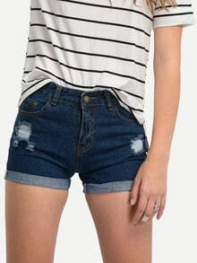 Denim Shorts mit zerrissenen Designs -blau