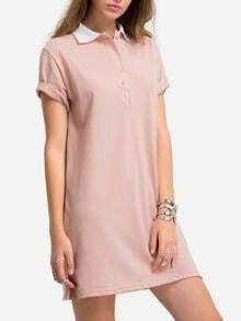 Pink Split Shirt Dress With Buttons