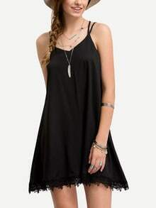 Black Lace Hem Chiffon Cami Dress