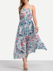Spaghetti Strap Florals Chiffon Pleated Beach Dress