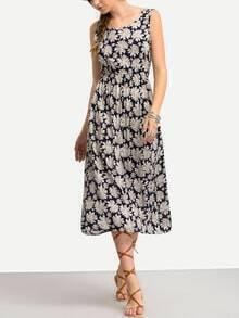 Sleeveless Chrysanthemum Print Dress