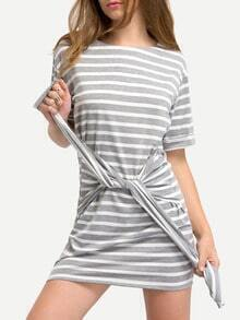 Multicolor Striped Tie Bow T-shirt Dress